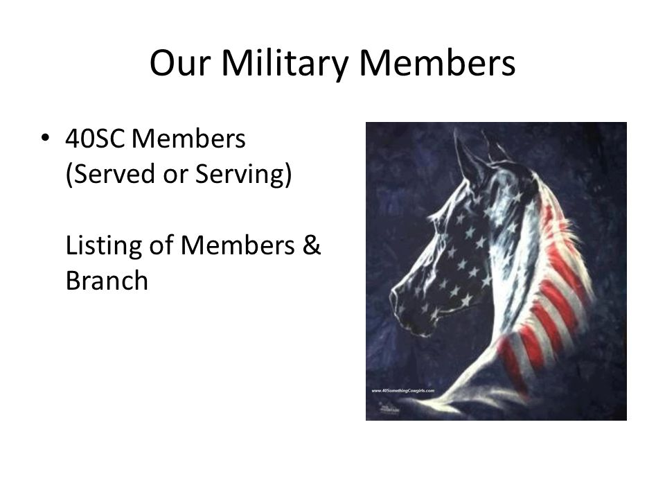 Our Military Members 40SC Members (Served or Serving) Listing of Members & Branch