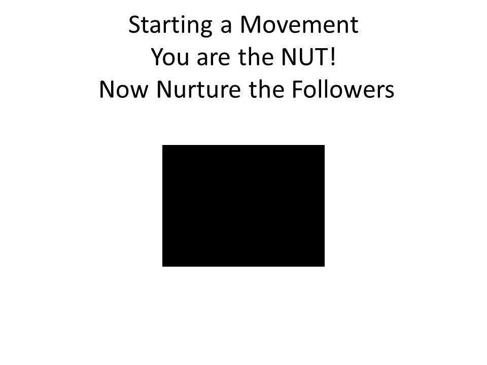 Starting a Movement You are the NUT! Now Nurture the Followers