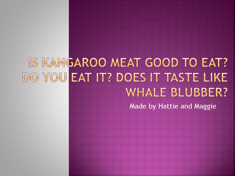Hi I am Hattie and this is Maggie we are about to tell you what kangaroo tastes like.
