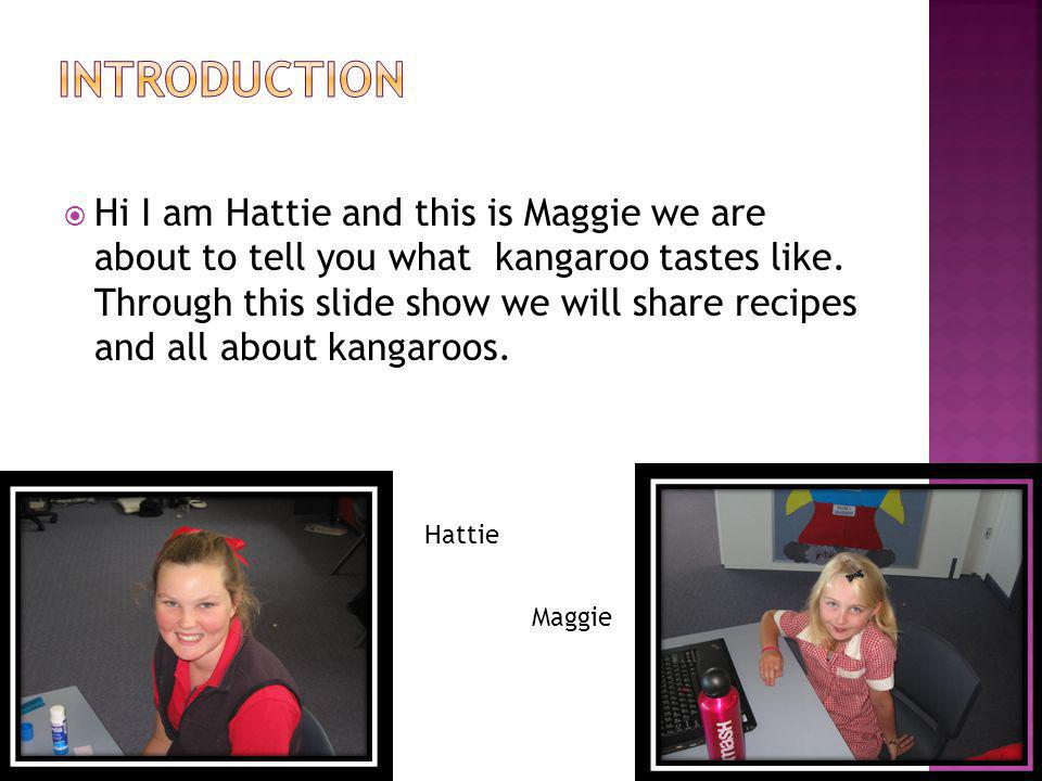 Introduction Contents Kangaroo Whale blubber Produce Kangaroo Recipes Graph Conclusion Page 2 Page 3 Page 4-5 Page 6-7 Page 8 Page 9-13 Page 14 Page 15