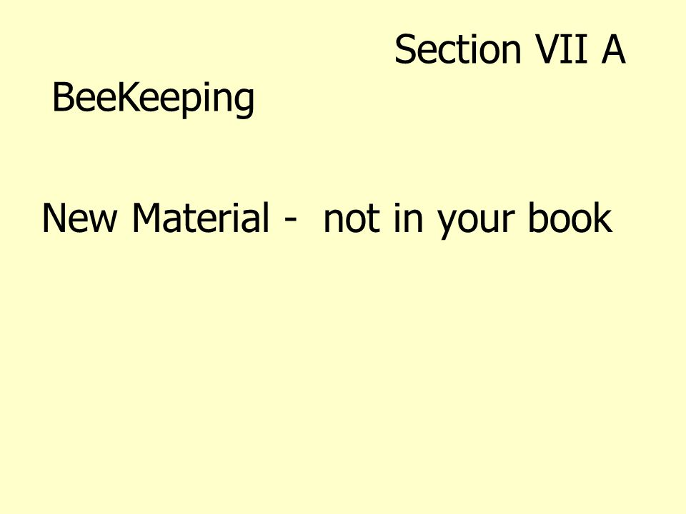 New Material - not in your book Section VII A BeeKeeping