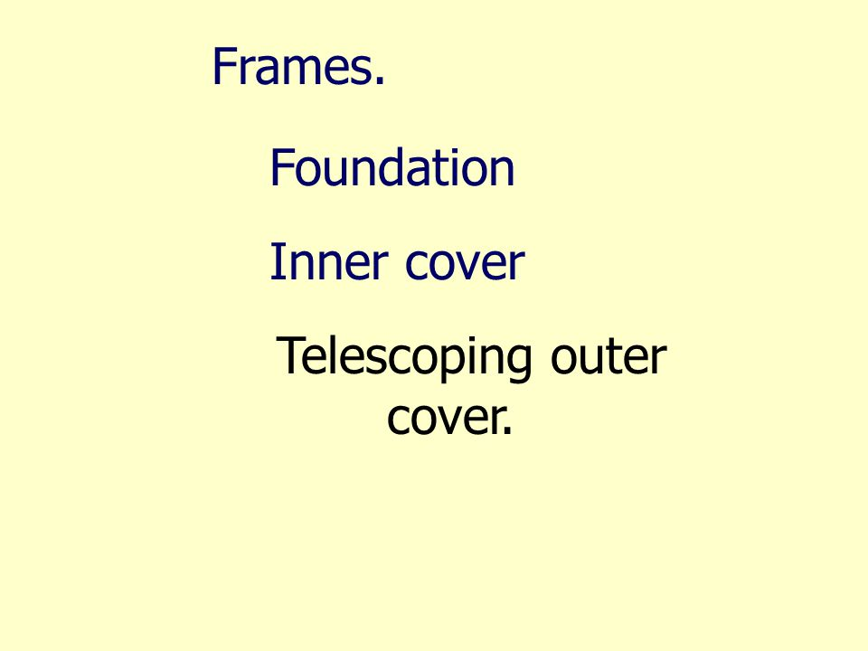 Frames. Foundation Inner cover Telescoping outer cover.