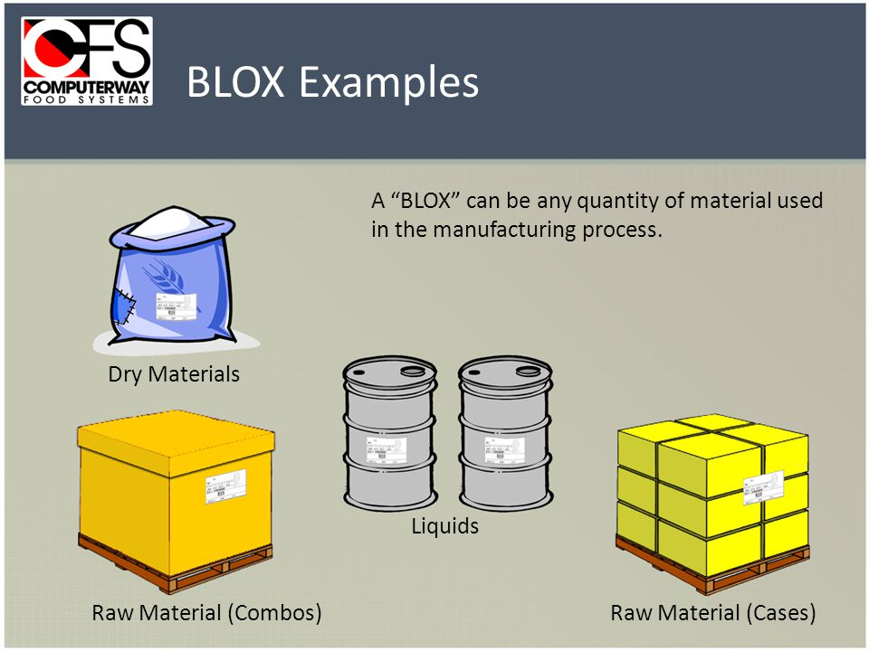 BLOX Examples A BLOX can be any quantity of material used in the manufacturing process.