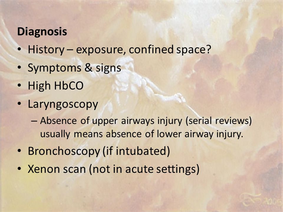 Symptoms may be absent on admission. The magnitude of the degree of injury evident after 24 to 48 hours. Early symptoms usually consist of bronchospas