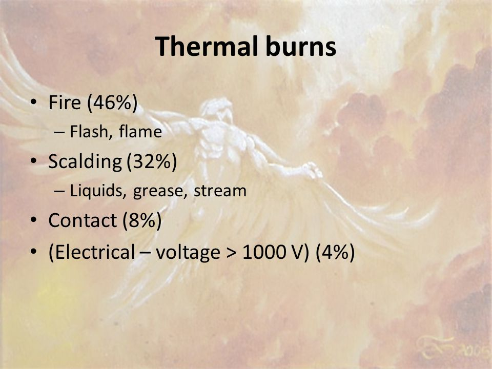 Types of burns Thermal Chemical Radiation Electrical