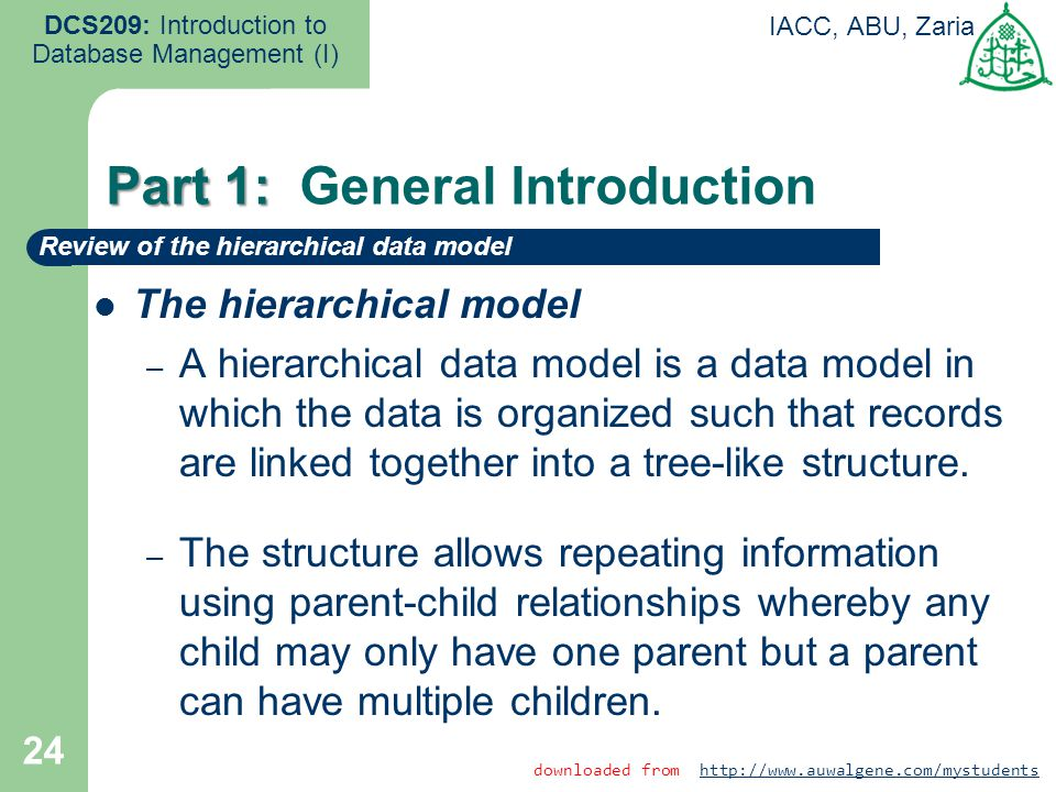 24 DCS209: Introduction to Database Management (I) IACC, ABU, Zaria The hierarchical model – A hierarchical data model is a data model in which the da