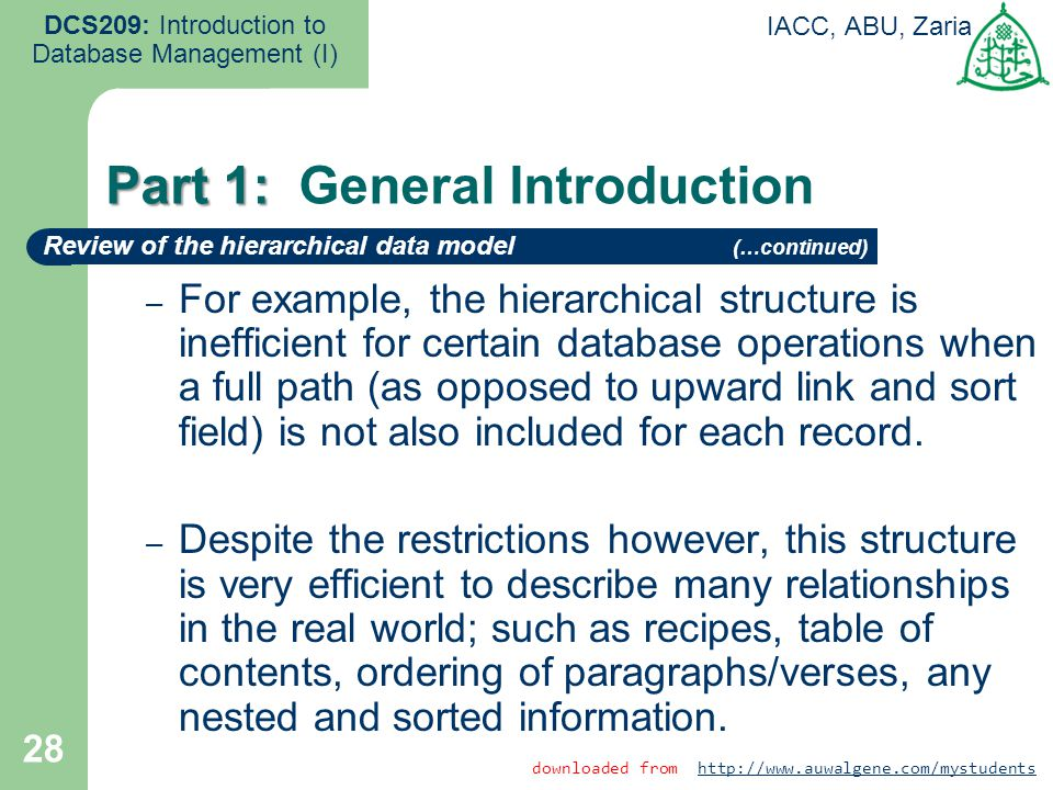 28 DCS209: Introduction to Database Management (I) IACC, ABU, Zaria – For example, the hierarchical structure is inefficient for certain database oper