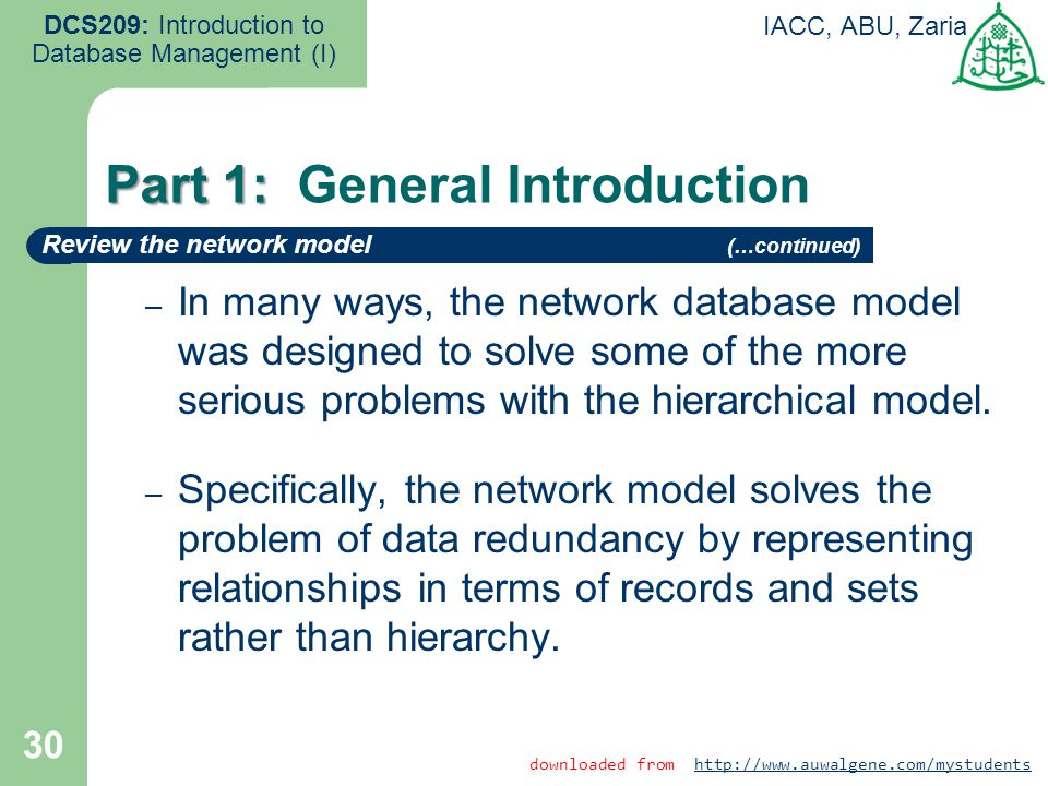30 DCS209: Introduction to Database Management (I) IACC, ABU, Zaria – In many ways, the network database model was designed to solve some of the more