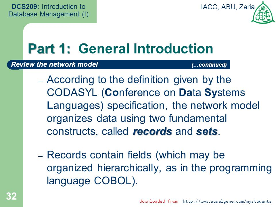 32 DCS209: Introduction to Database Management (I) IACC, ABU, Zaria recordssets – According to the definition given by the CODASYL (Conference on Data