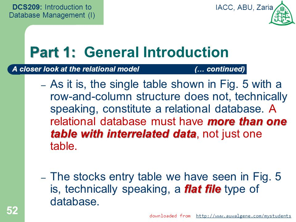 52 DCS209: Introduction to Database Management (I) IACC, ABU, Zaria more than one table with interrelated data – As it is, the single table shown in F
