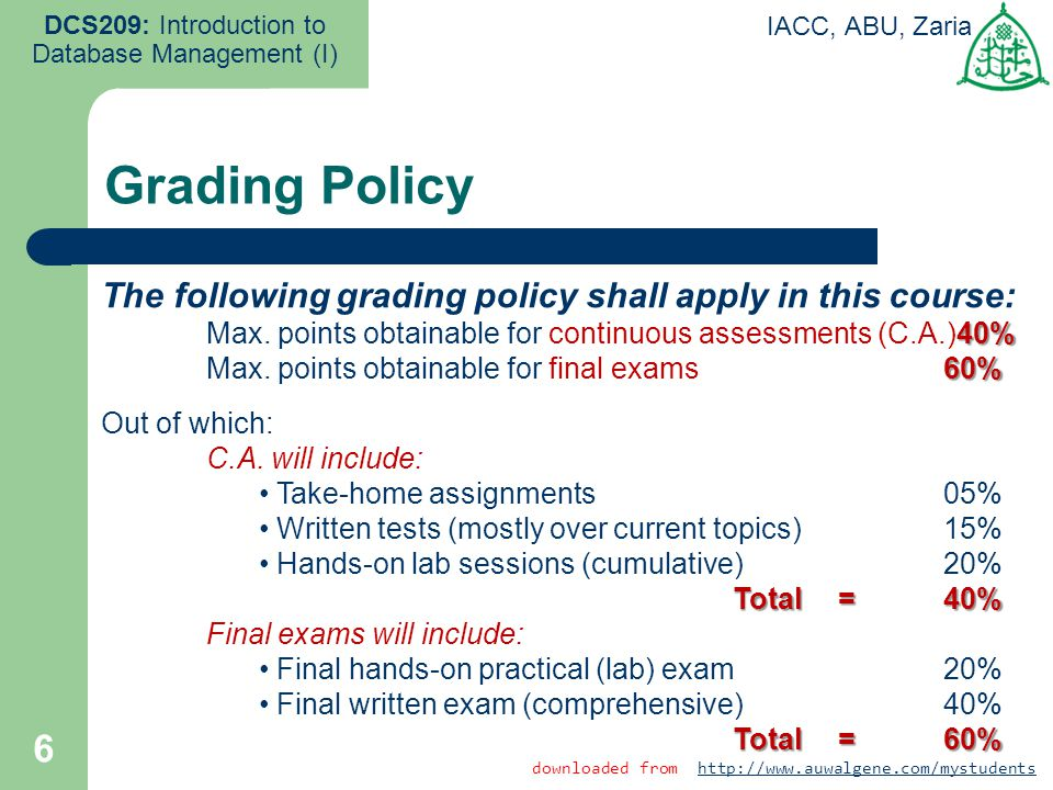 6 DCS209: Introduction to Database Management (I) IACC, ABU, Zaria The following grading policy shall apply in this course: 40% Max. points obtainable