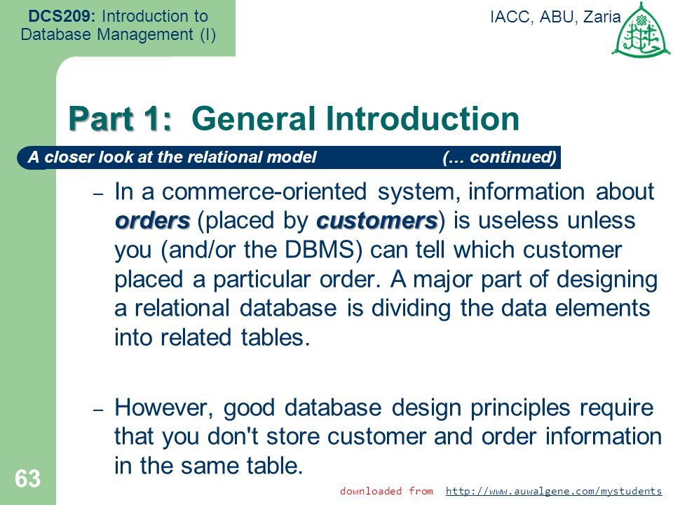 orderscustomers – In a commerce-oriented system, information about orders (placed by customers) is useless unless you (and/or the DBMS) can tell which