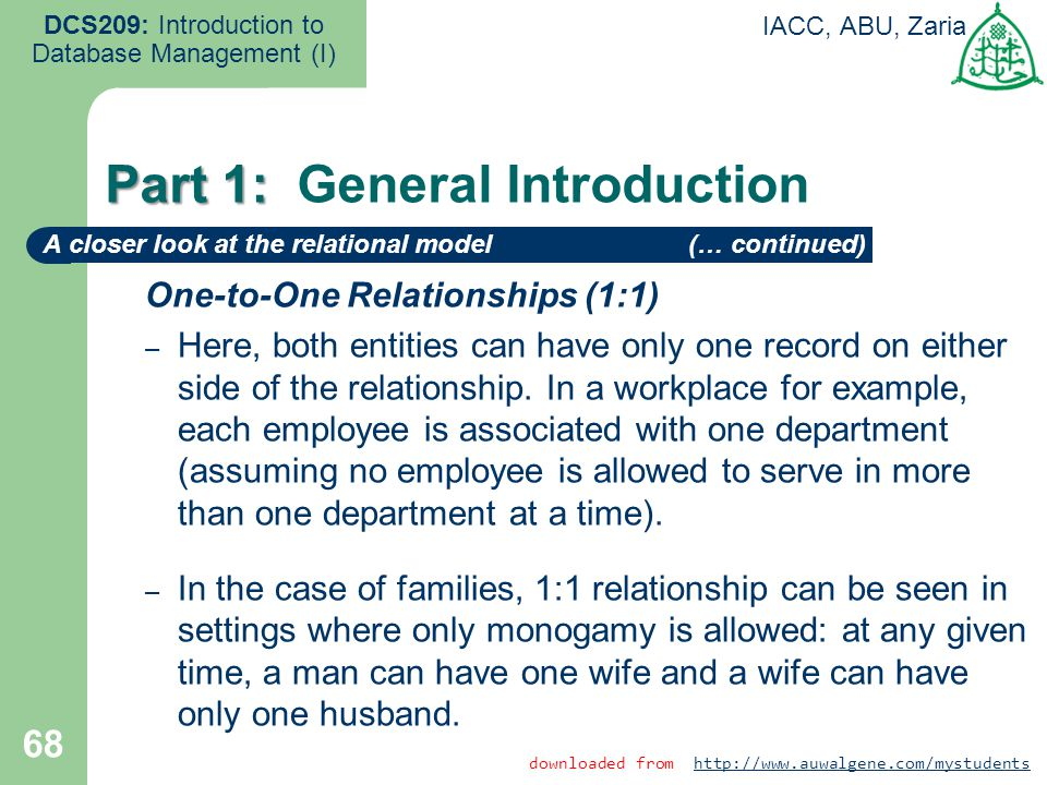 One-to-One Relationships (1:1) – Here, both entities can have only one record on either side of the relationship. In a workplace for example, each emp
