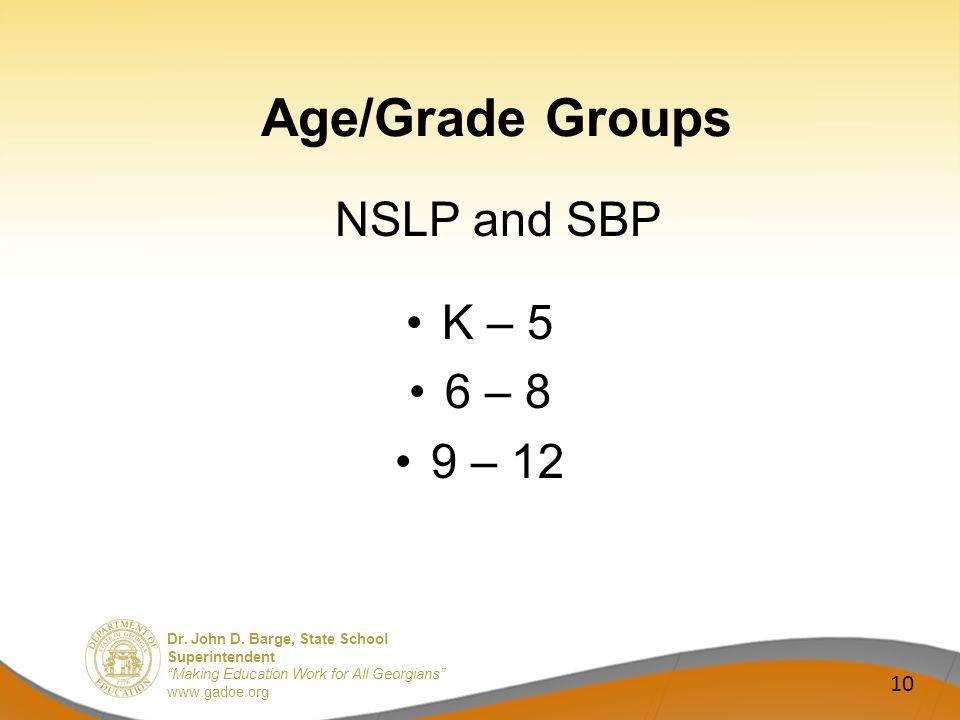 Dr. John D. Barge, State School Superintendent Making Education Work for All Georgians www.gadoe.org Age/Grade Groups NSLP and SBP K – 5 6 – 8 9 – 12