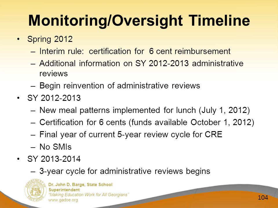 Dr. John D. Barge, State School Superintendent Making Education Work for All Georgians www.gadoe.org Monitoring/Oversight Timeline Spring 2012 –Interi