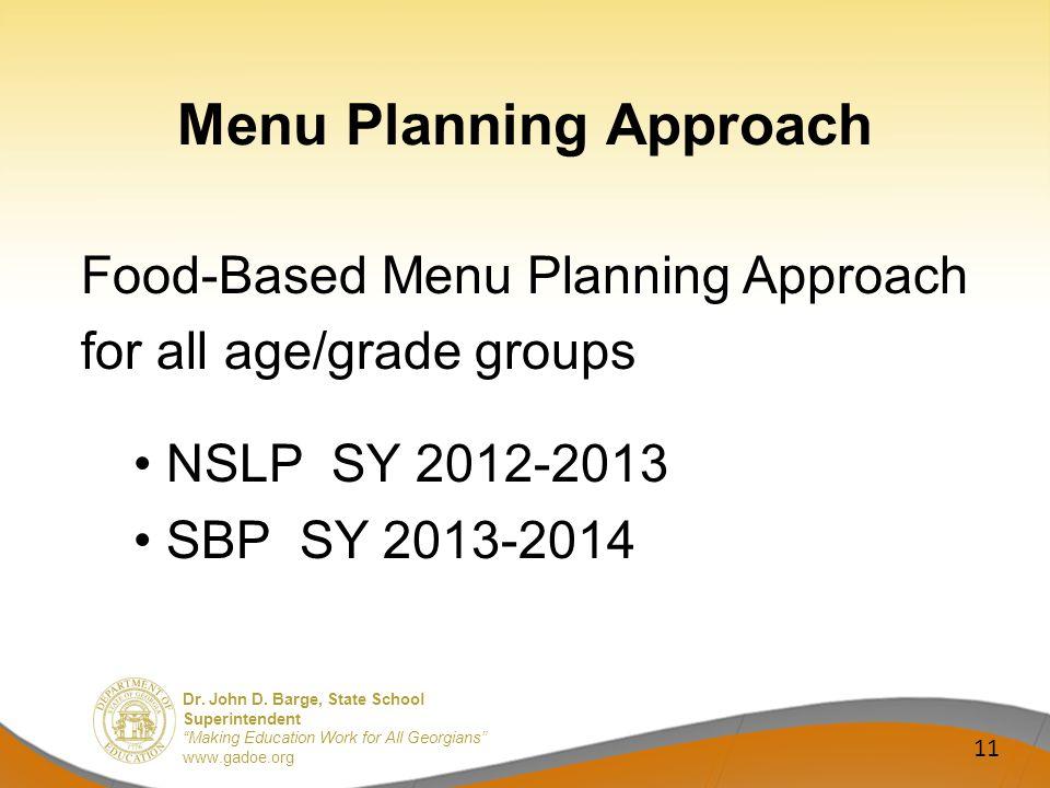 Dr. John D. Barge, State School Superintendent Making Education Work for All Georgians www.gadoe.org Menu Planning Approach Food-Based Menu Planning A
