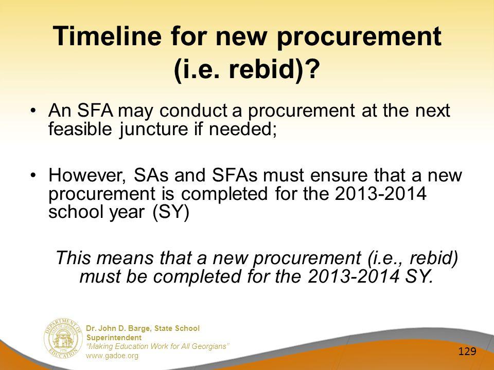 Dr. John D. Barge, State School Superintendent Making Education Work for All Georgians www.gadoe.org Timeline for new procurement (i.e. rebid)? An SFA