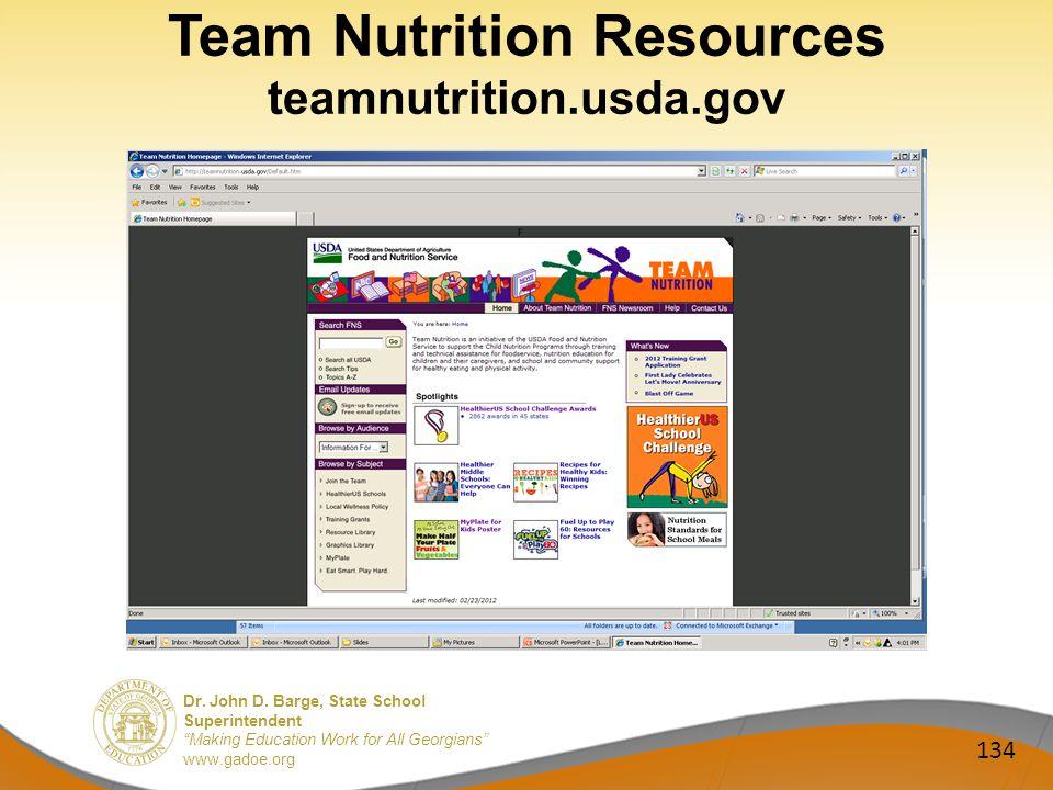 Dr. John D. Barge, State School Superintendent Making Education Work for All Georgians www.gadoe.org Team Nutrition Resources teamnutrition.usda.gov 1
