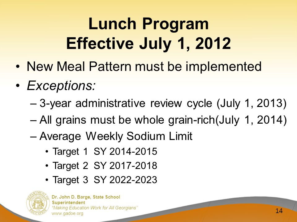 Dr. John D. Barge, State School Superintendent Making Education Work for All Georgians www.gadoe.org Lunch Program Effective July 1, 2012 New Meal Pat