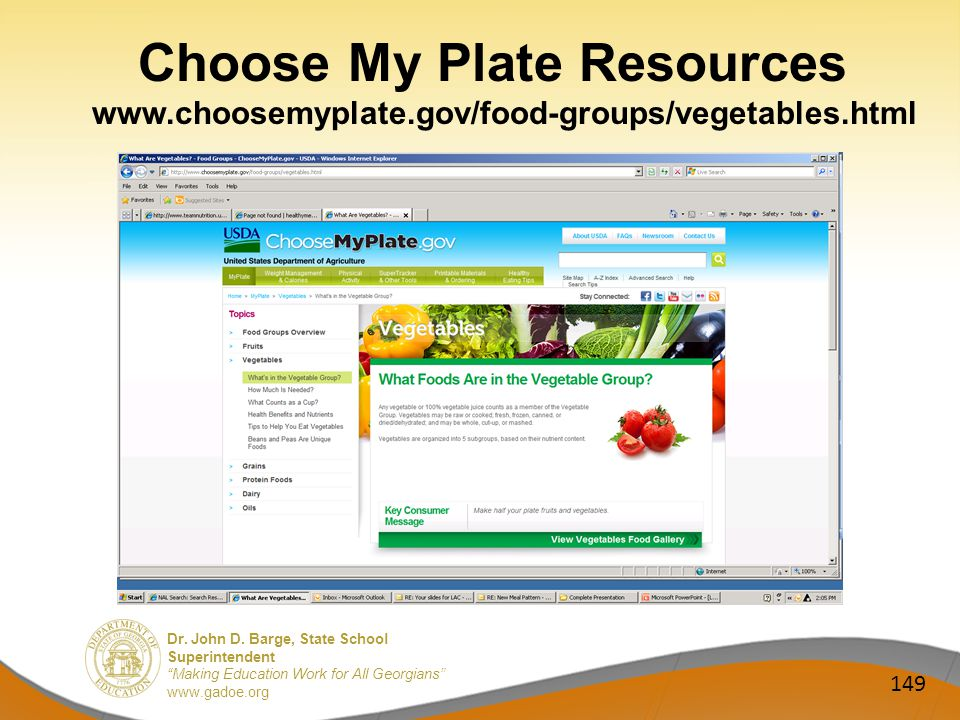 Dr. John D. Barge, State School Superintendent Making Education Work for All Georgians www.gadoe.org Choose My Plate Resources www.choosemyplate.gov/f