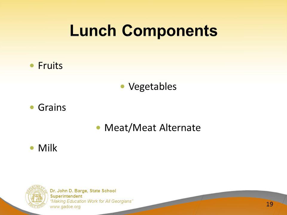 Dr. John D. Barge, State School Superintendent Making Education Work for All Georgians www.gadoe.org Fruits Vegetables Grains Meat/Meat Alternate Milk