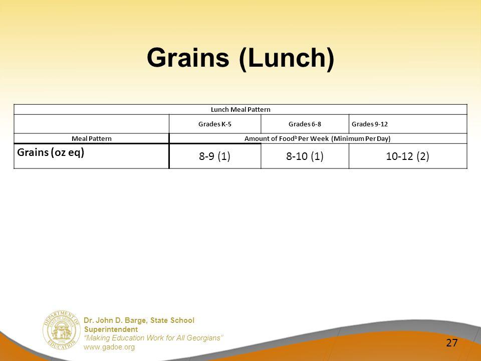 Dr. John D. Barge, State School Superintendent Making Education Work for All Georgians www.gadoe.org Grains (Lunch) 27 Lunch Meal Pattern Grades K-5Gr
