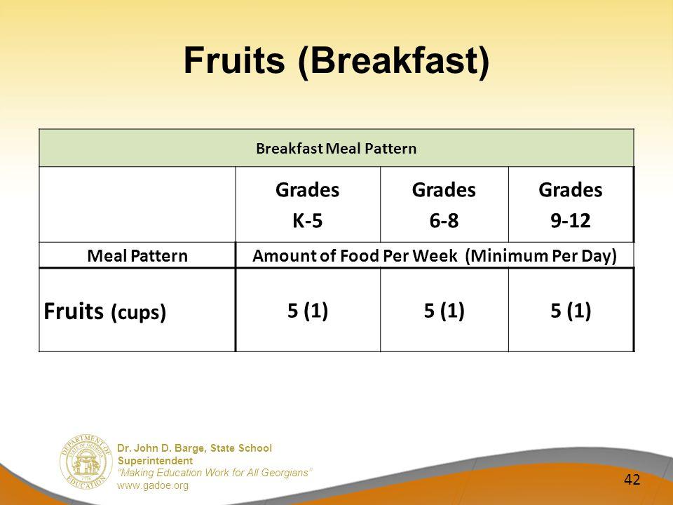 Dr. John D. Barge, State School Superintendent Making Education Work for All Georgians www.gadoe.org Fruits (Breakfast) 42 Breakfast Meal Pattern Grad