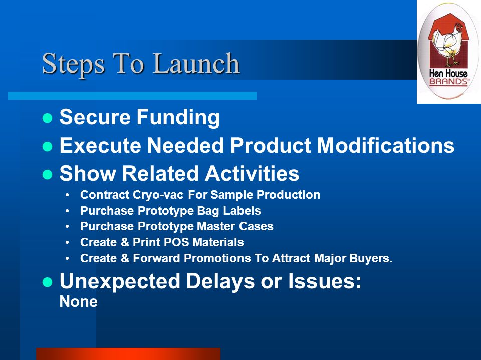 Steps To Launch Secure Funding Execute Needed Product Modifications Show Related Activities Contract Cryo-vac For Sample Production Purchase Prototype Bag Labels Purchase Prototype Master Cases Create & Print POS Materials Create & Forward Promotions To Attract Major Buyers.
