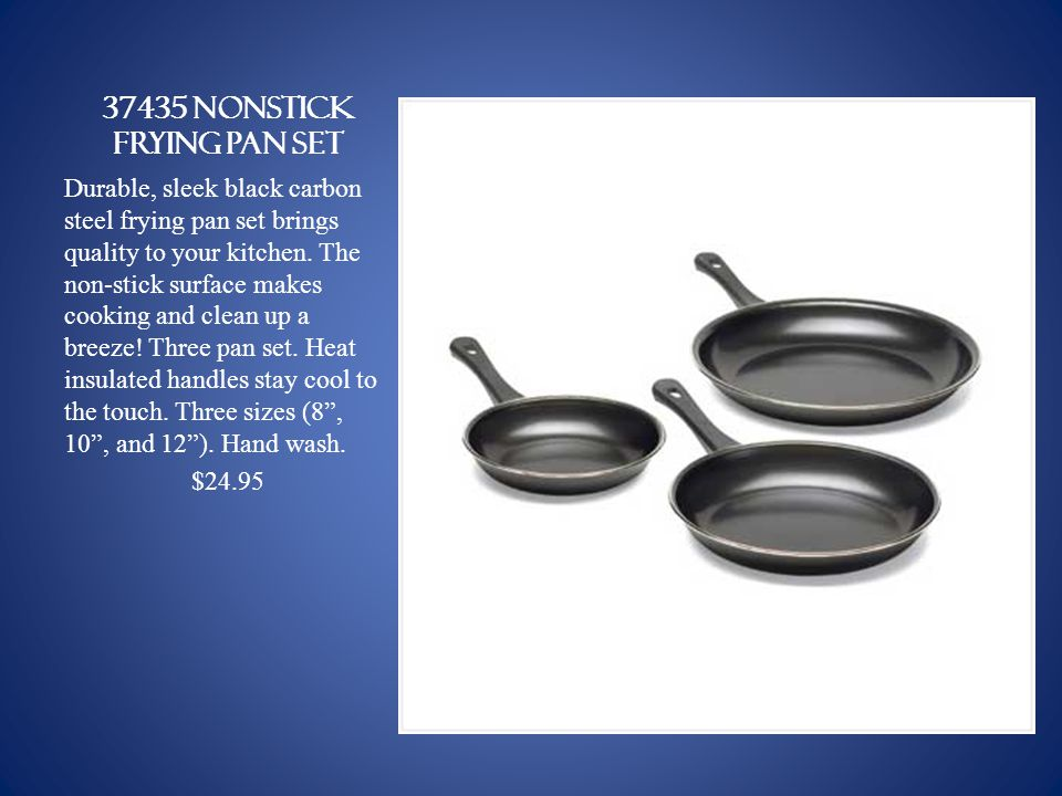 37435 NONSTICK FRYING PAN SET Durable, sleek black carbon steel frying pan set brings quality to your kitchen.