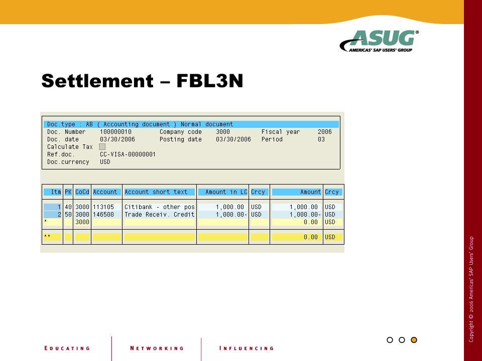Settlement – FBL3N