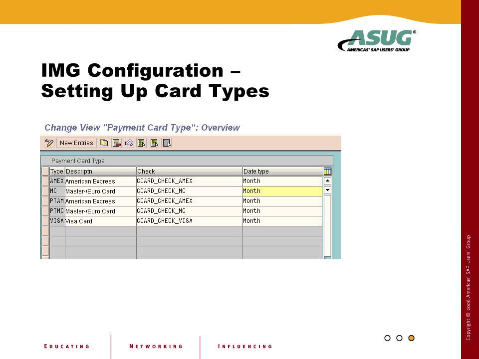 IMG Configuration – Setting Up Card Types