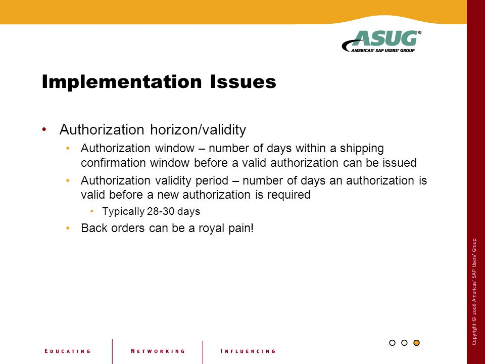 Implementation Issues Authorization horizon/validity Authorization window – number of days within a shipping confirmation window before a valid author