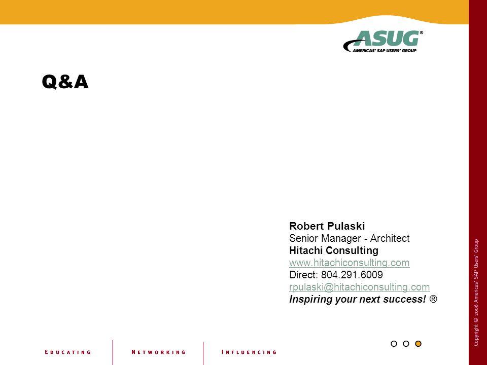 Q&A Robert Pulaski Senior Manager - Architect Hitachi Consulting www.hitachiconsulting.com Direct: 804.291.6009 rpulaski@hitachiconsulting.com Inspiri