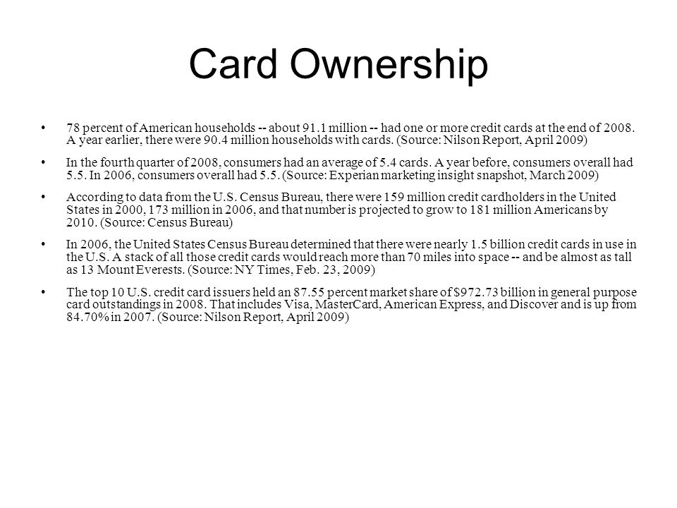 Card Ownership 78 percent of American households -- about 91.1 million -- had one or more credit cards at the end of 2008.