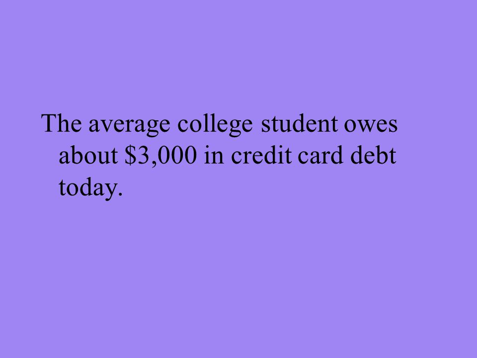 The average college student owes about $3,000 in credit card debt today.