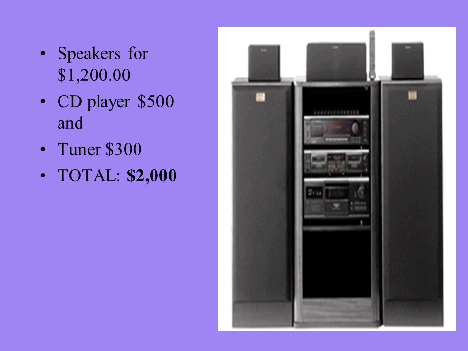 Speakers for $1,200.00 CD player $500 and Tuner $300 TOTAL: $2,000