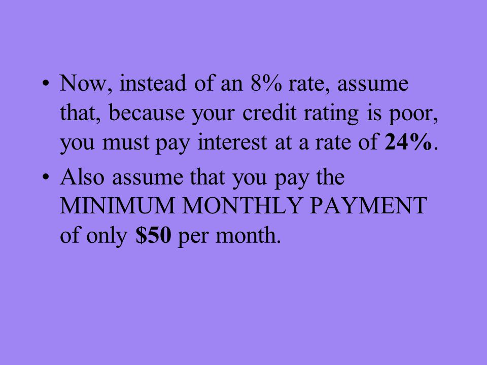Now, instead of an 8% rate, assume that, because your credit rating is poor, you must pay interest at a rate of 24%.