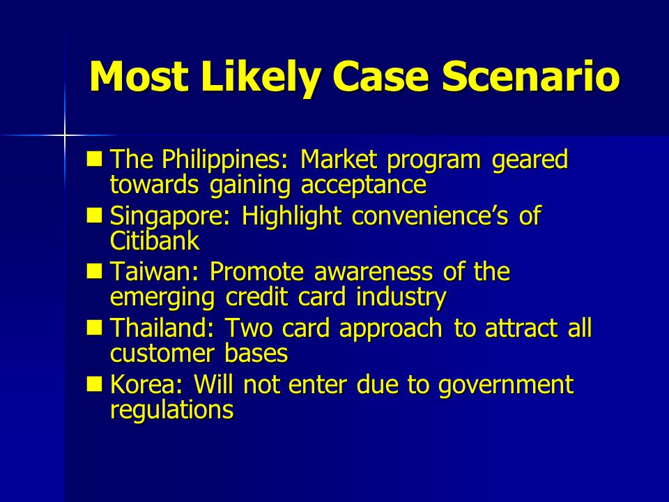 Most Likely Case Scenario The Philippines: Market program geared towards gaining acceptance The Philippines: Market program geared towards gaining acc