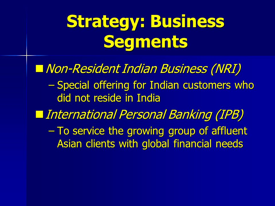 Strategy: Business Segments Non-Resident Indian Business (NRI) Non-Resident Indian Business (NRI) –Special offering for Indian customers who did not r