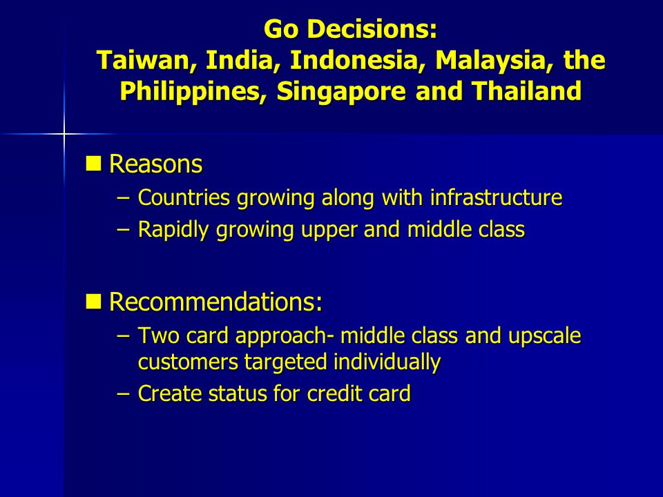 Go Decisions: Taiwan, India, Indonesia, Malaysia, the Philippines, Singapore and Thailand Reasons Reasons –Countries growing along with infrastructure