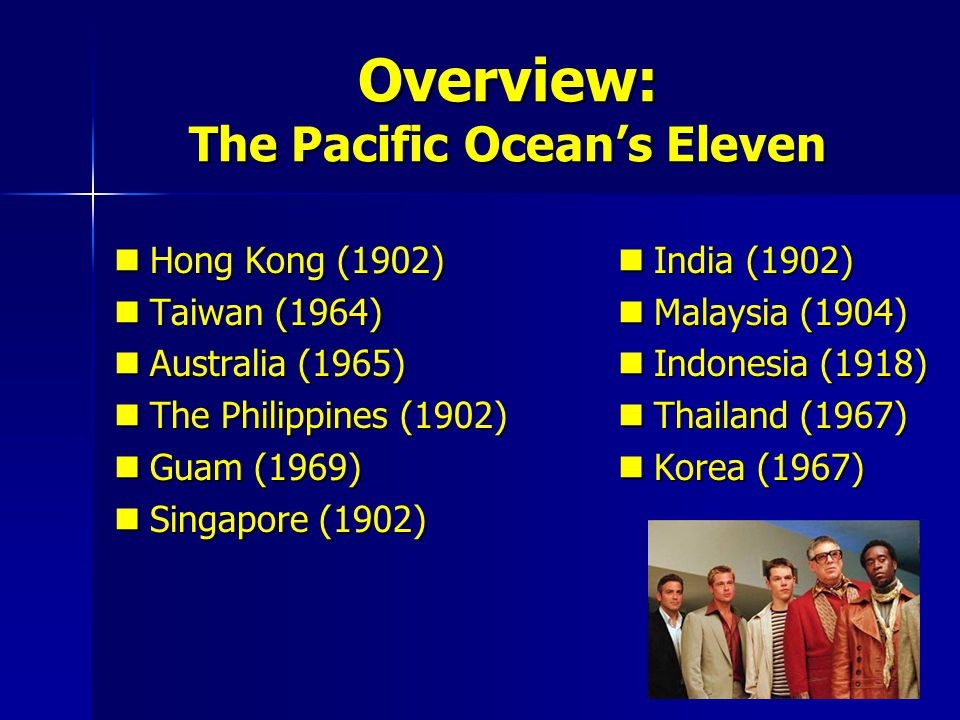 Overview: The Pacific Oceans Eleven Hong Kong (1902) Hong Kong (1902) Taiwan (1964) Taiwan (1964) Australia (1965) Australia (1965) The Philippines (1