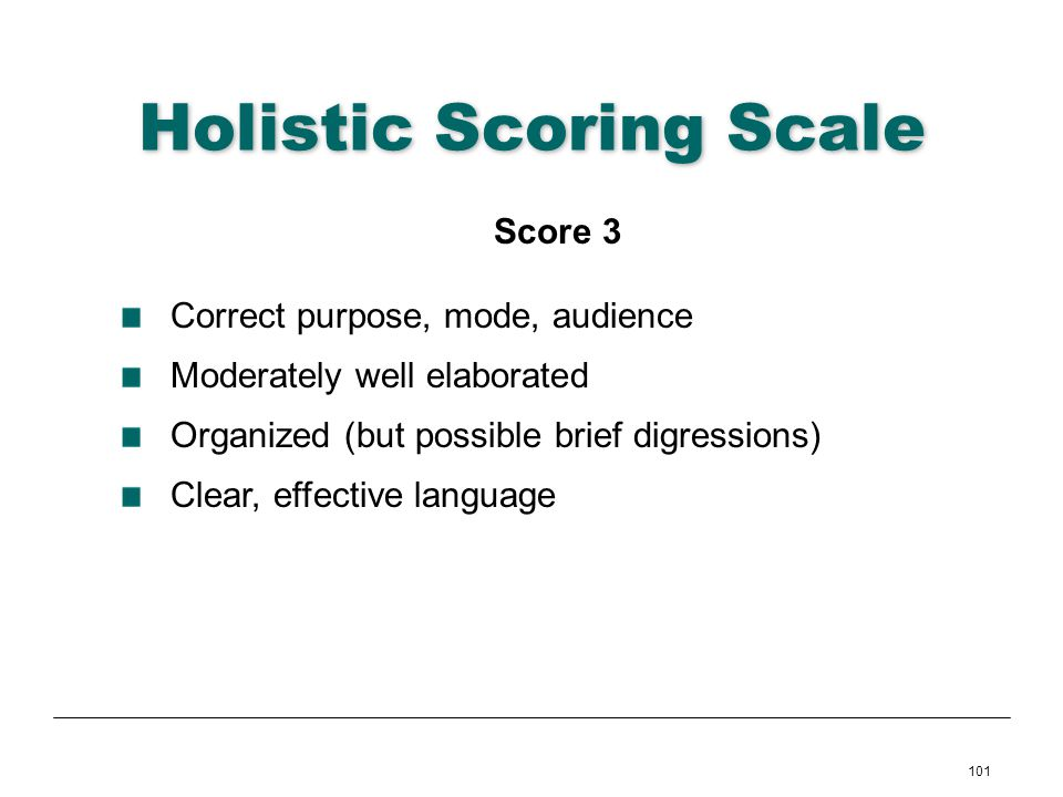 101 Holistic Scoring Scale Score 3 Correct purpose, mode, audience Moderately well elaborated Organized (but possible brief digressions) Clear, effect