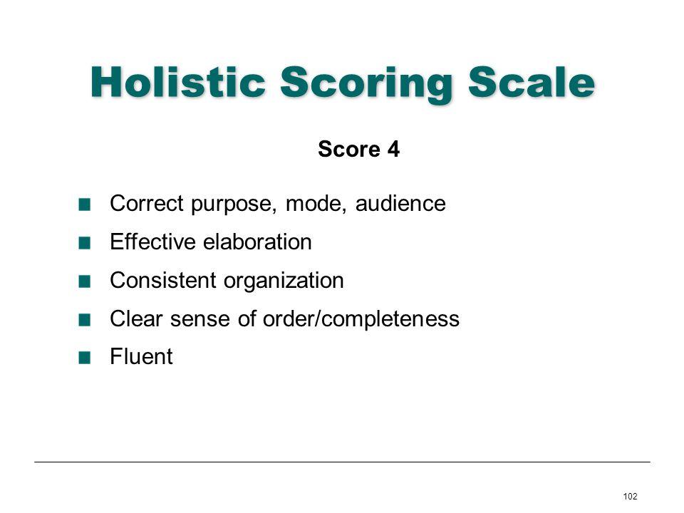 102 Holistic Scoring Scale Score 4 Correct purpose, mode, audience Effective elaboration Consistent organization Clear sense of order/completeness Flu