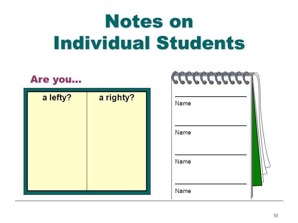 13 Notes on Individual Students ______________________ Name ______________________ Name ______________________ Name ______________________ Name Are yo