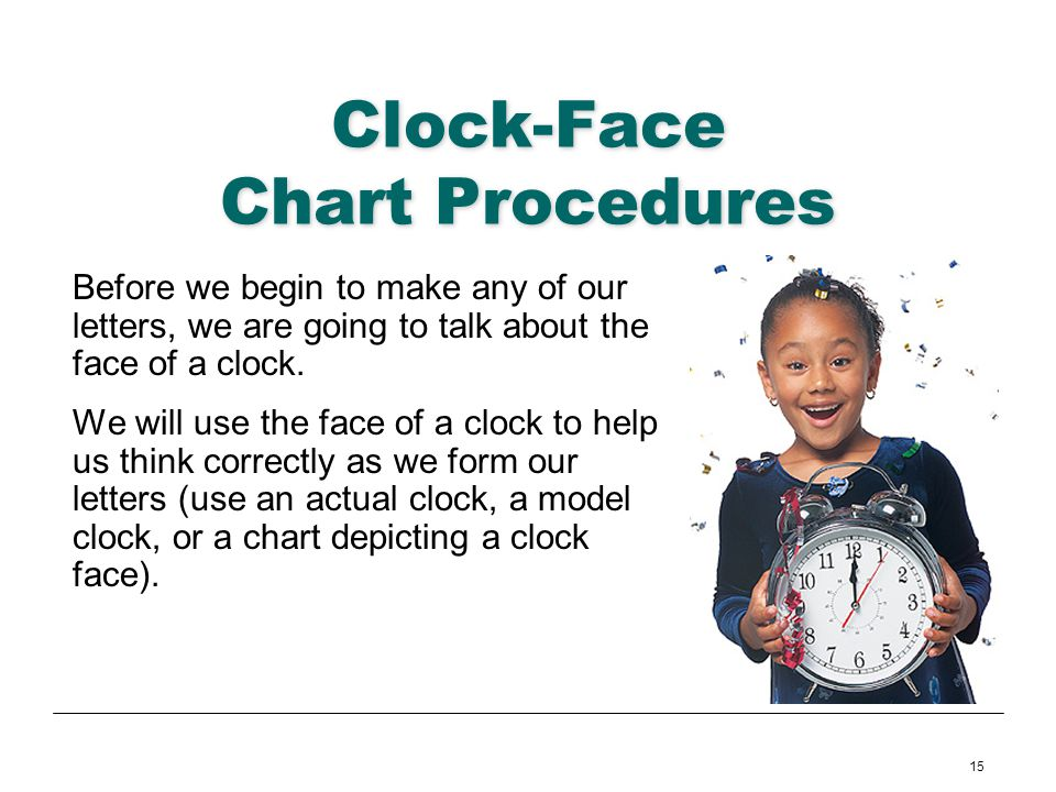 15 Clock-Face Chart Procedures Before we begin to make any of our letters, we are going to talk about the face of a clock. We will use the face of a c