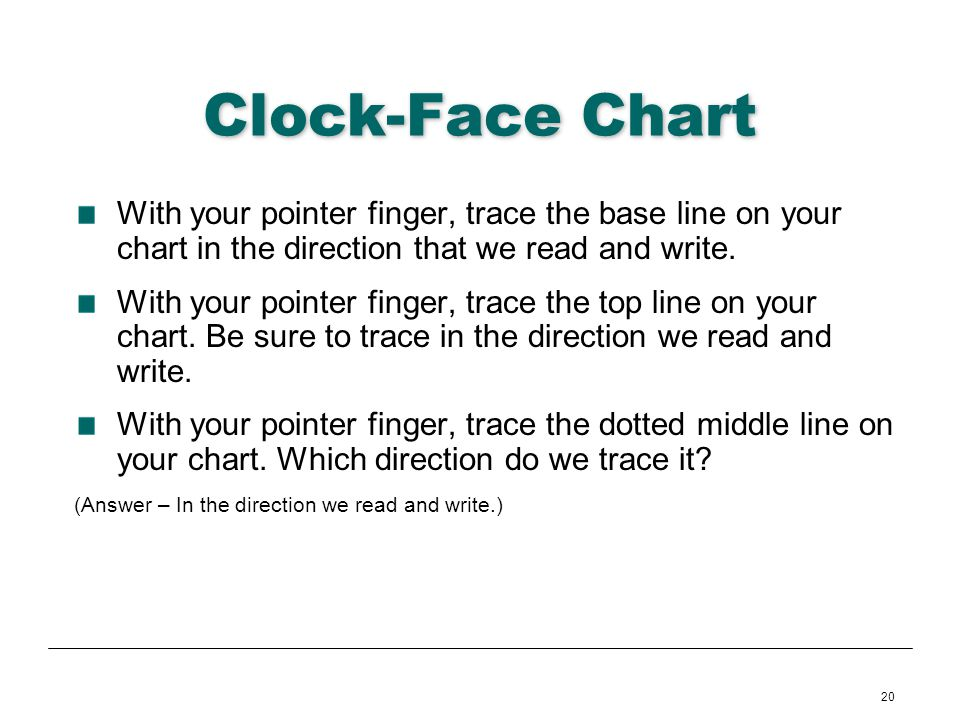 20 Clock-Face Chart With your pointer finger, trace the base line on your chart in the direction that we read and write. With your pointer finger, tra