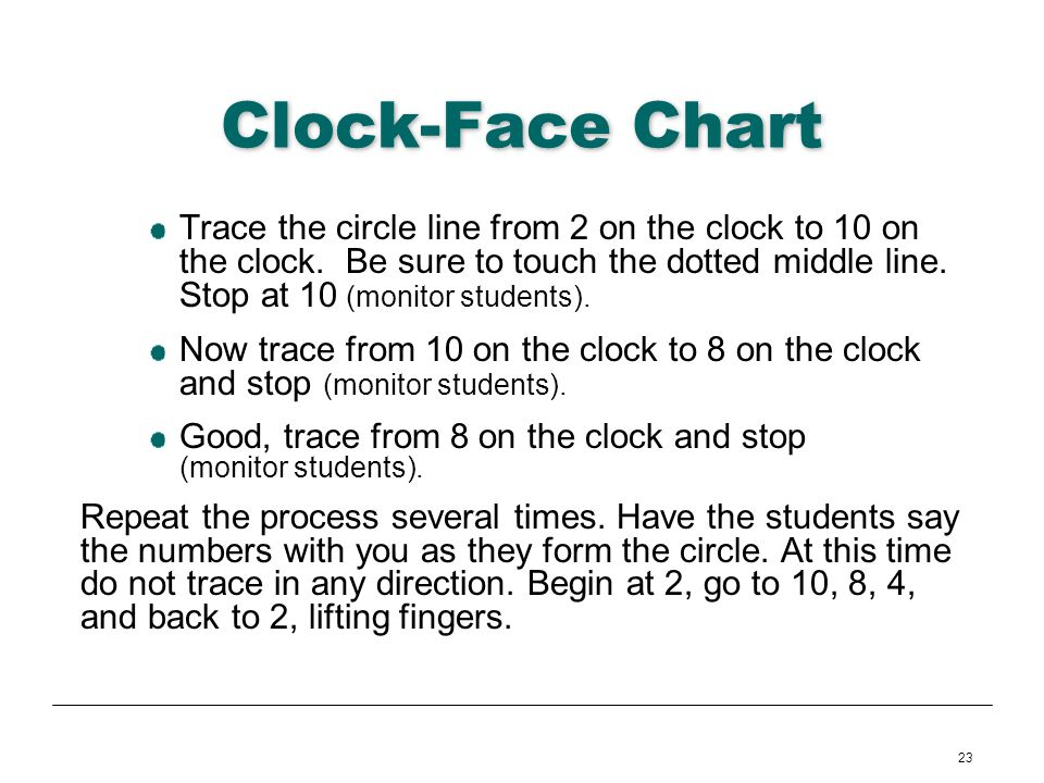 23 Clock-Face Chart Trace the circle line from 2 on the clock to 10 on the clock. Be sure to touch the dotted middle line. Stop at 10 (monitor student