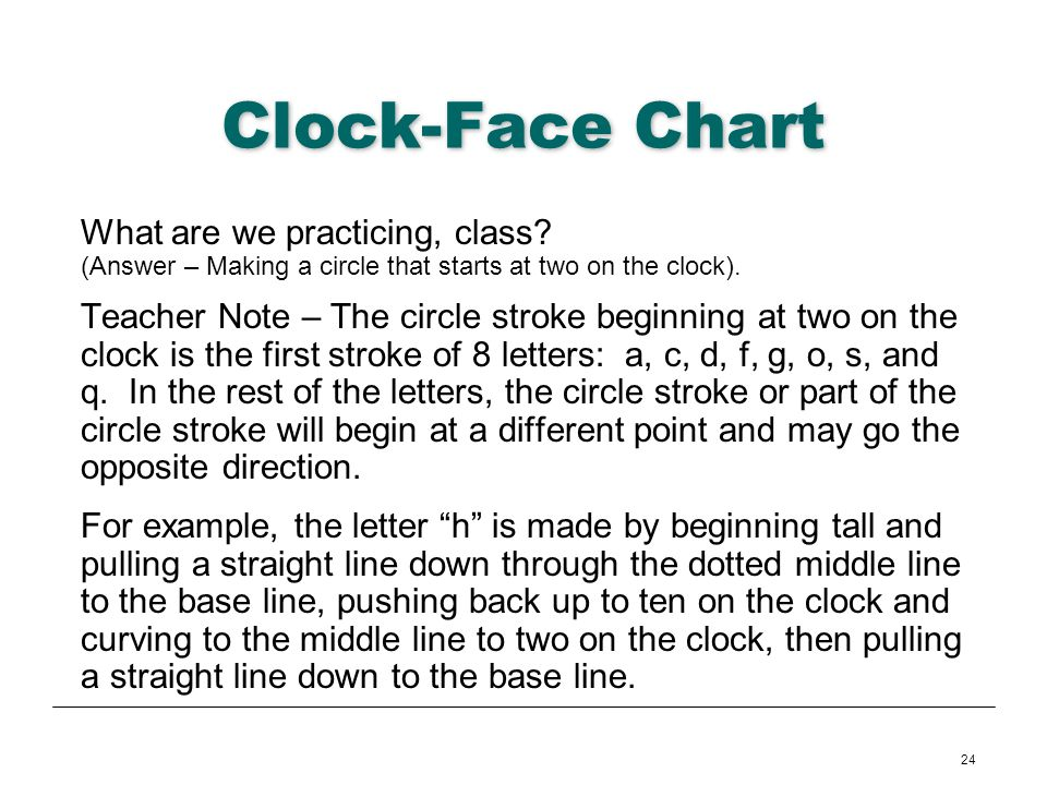 24 Clock-Face Chart What are we practicing, class? (Answer – Making a circle that starts at two on the clock). Teacher Note – The circle stroke beginn