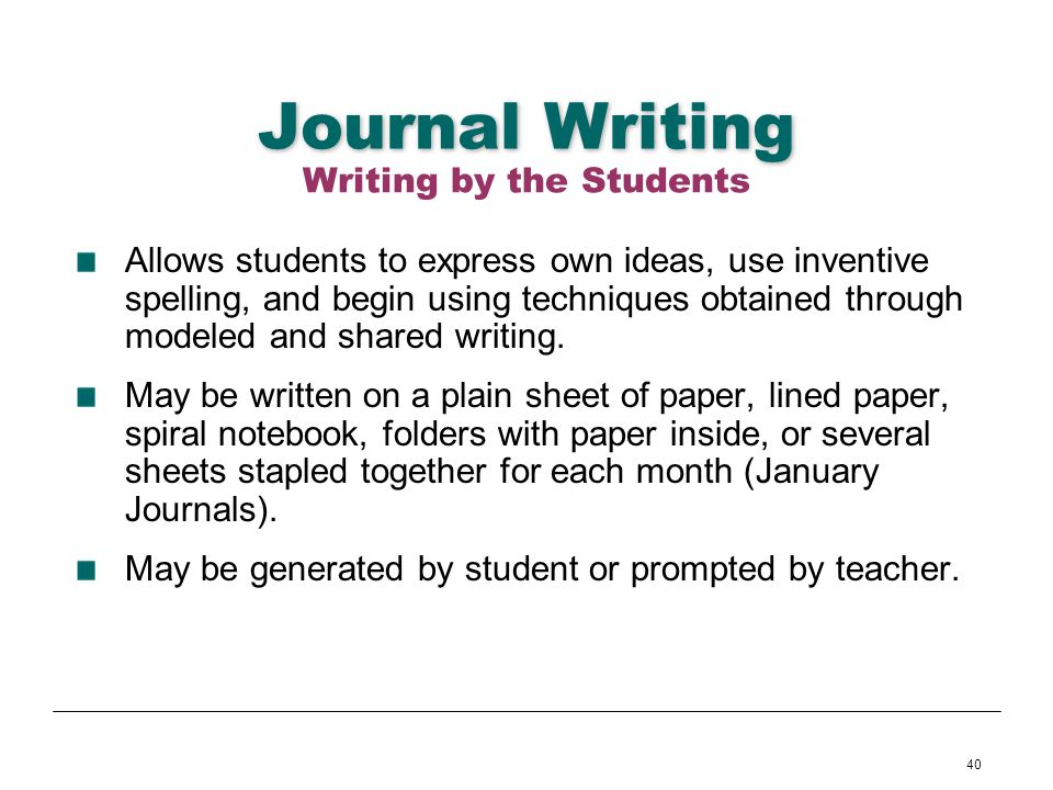 40 Journal Writing Allows students to express own ideas, use inventive spelling, and begin using techniques obtained through modeled and shared writin