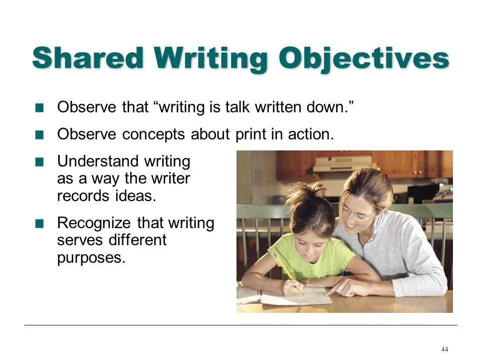 44 Shared Writing Objectives Observe that writing is talk written down. Observe concepts about print in action. Understand writing as a way the writer